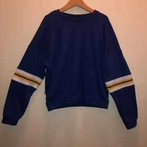 Forever 21 Blue sweatshirt with jersey stripes